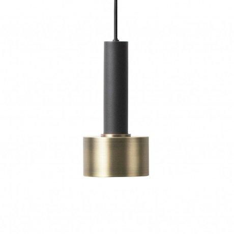 Ferm Living Lampe suspension disque haute métal noir or en laiton