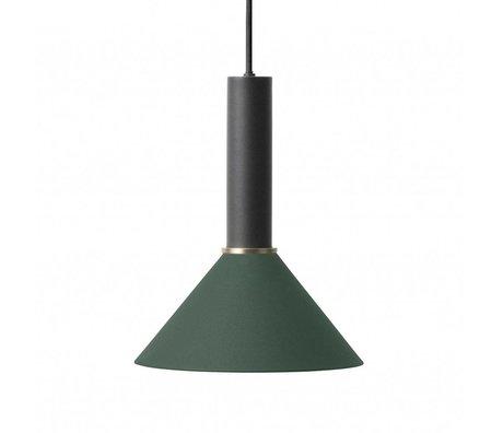 Ferm Living Cône lampe suspendue haute métal noir vert foncé