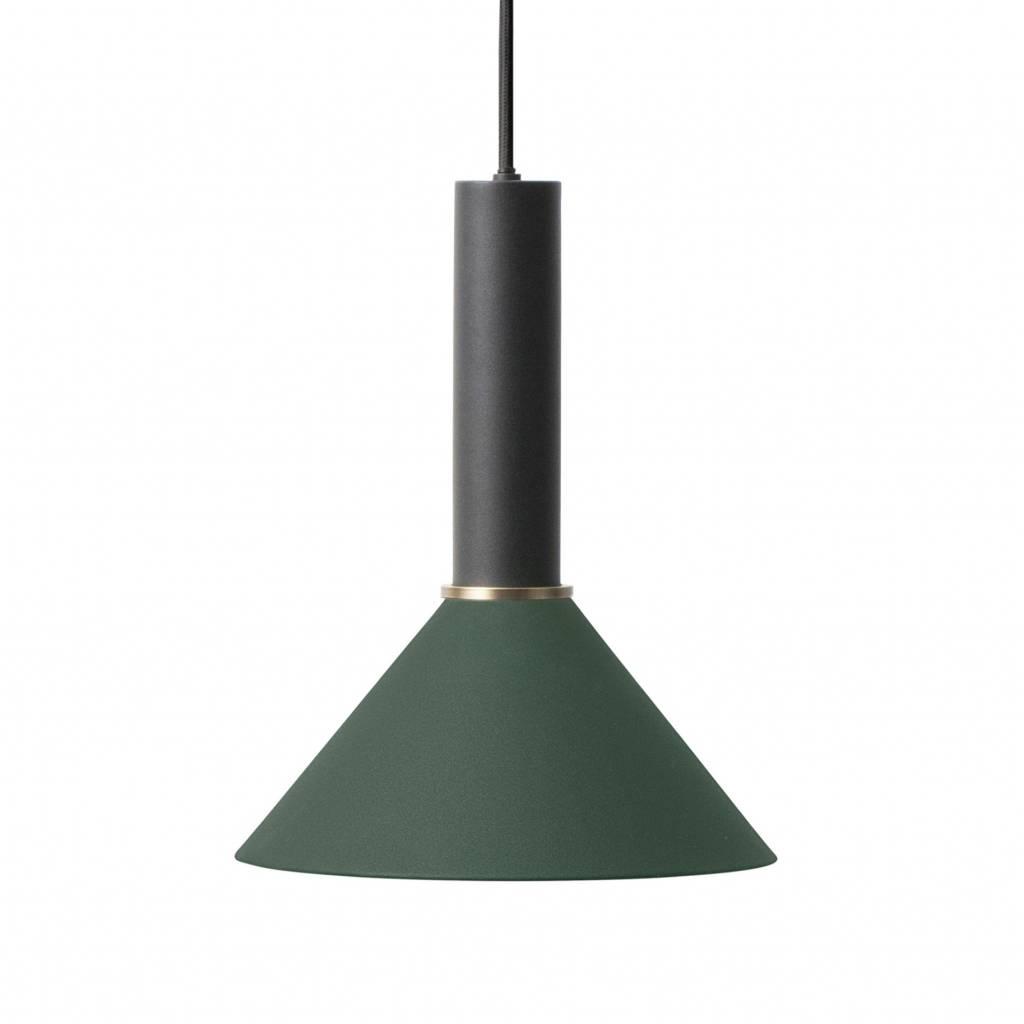 Ferm Living Cone Lampe Suspendue Haute Metal Noir Vert Fonce Wonen