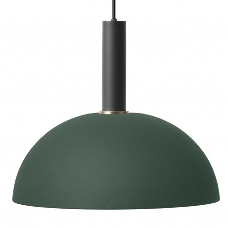 Ferm Living Hanglamp Dome high donker groen zwart metaal