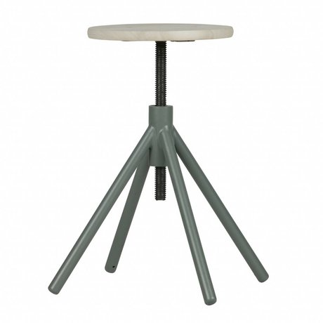 LEF collections Stool Lily green metal timber (48-60) x32x32cm
