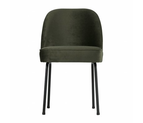 BePureHome chaise à manger Vogue onyx velours gris vert 82,5x50x57cm