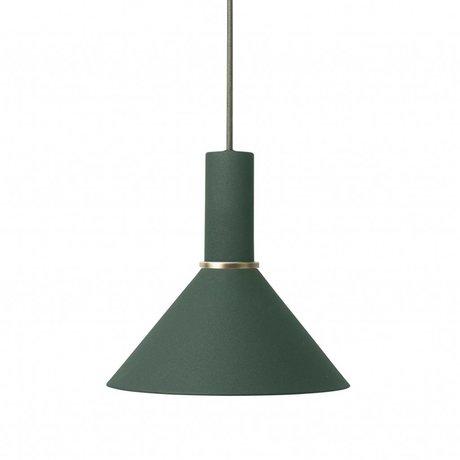 Ferm Living Cone Hängelampe niedrig dunkelgrünes Metall