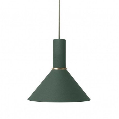 Ferm Living Cône lampe à suspension basse métal vert foncé