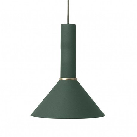 Ferm Living Cône lampe suspendue haute métal vert foncé