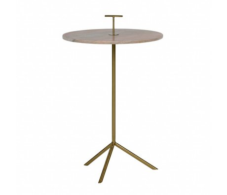 BePureHome Table d'appoint métallique Paddle 72x43,5x43,5cm en marbre rose