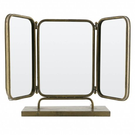 BePureHome Mirror Anonymous antique brass gold metal 49,5x72,5x15cm