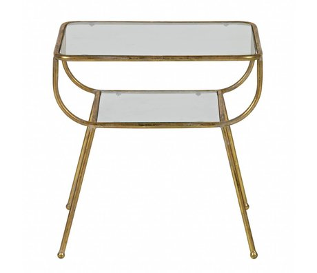 BePureHome Table d'appoint en verre incroyable métal or antique laiton 47x47x40,5cm