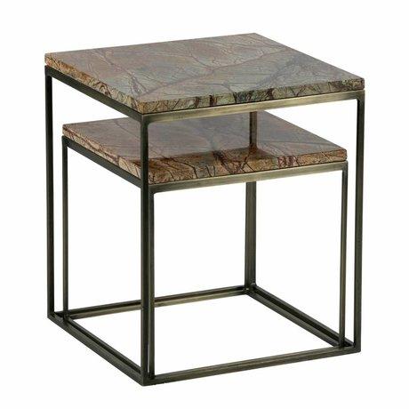 BePureHome Table d'appoint or Mellow marbre antique en laiton ensemble de 2