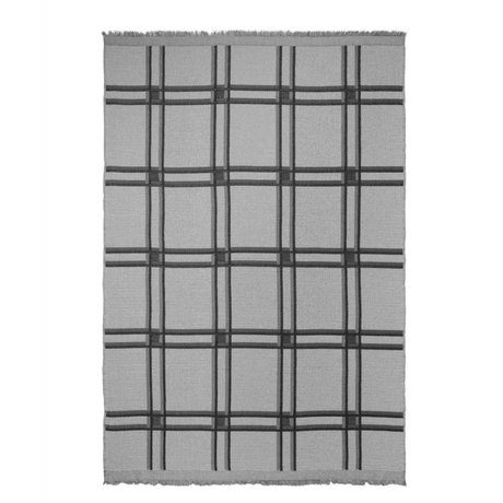 Ferm Living Plaid Checked Wool Blend gray textile 180x120cm