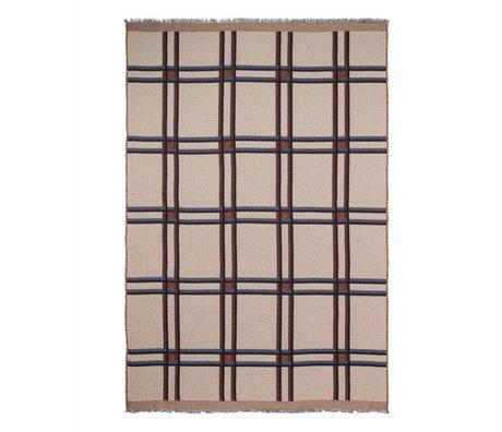 Ferm Living Plaid à carreaux en laine mélangée beige rouge textile 180x120cm