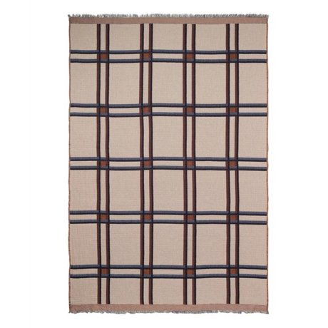 Ferm Living Plaid Checked Wool Blend beige rood textiel 180x120cm