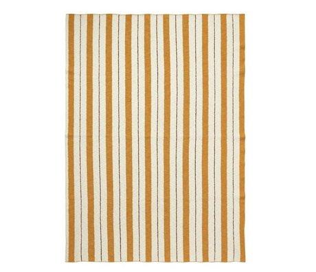 Ferm Living moutarde Plaid Pinstripe 160x120cm textile jaune