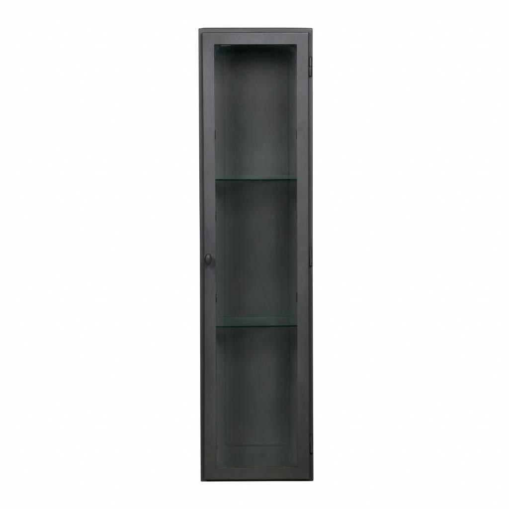 Vitrinekast Glas Hangend.Vitrinekast Manta Xl Hangend Grijs Metaal 120x30x25cm Wonenmetlef Nl