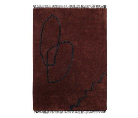 Ferm Living Tapis Desert Tufted rouge noir textile 140x200cm