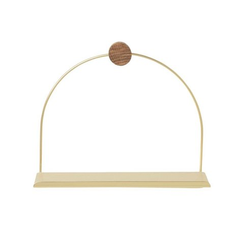 Ferm Living Wall shelf Bathroom brass gold metal wood 26x10x21cm