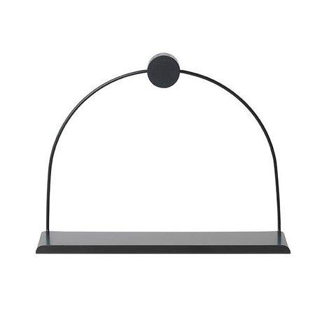 Ferm Living Wandplank Bathroom zwart metaal hout 26x10x21cm
