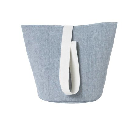 Ferm Living Laundry basket Chambray medium blue cotton Ø35x42cm