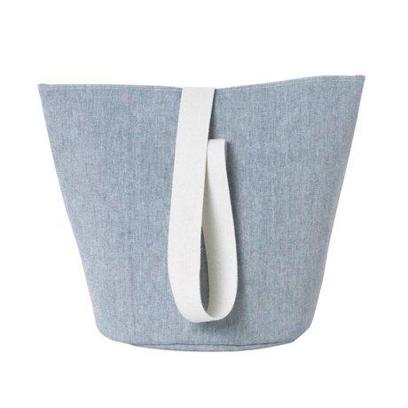 Ferm Living Coton chambray bleu Hamper moyen Ø35x42cm
