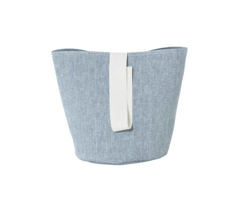 Ferm Living Laundry basket Chambray small blue cotton Ø22x25cm
