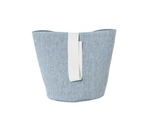 Ferm Living Petit coton chambray Hamper bleu Ø22x25cm