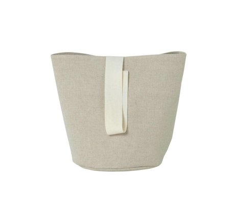 Ferm Living Laundry basket Chambray small beige cotton Ø22x25cm