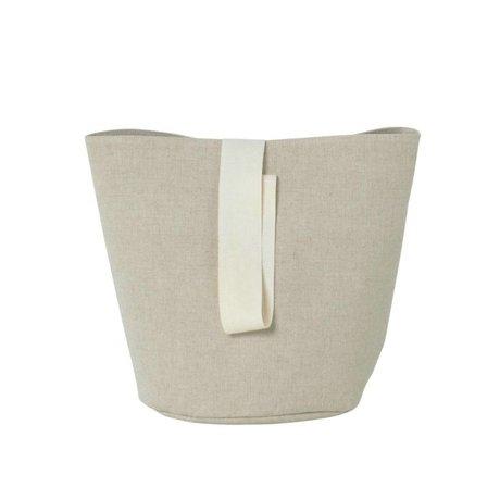 Ferm Living Petit coton chambray Hamper beige Ø22x25cm