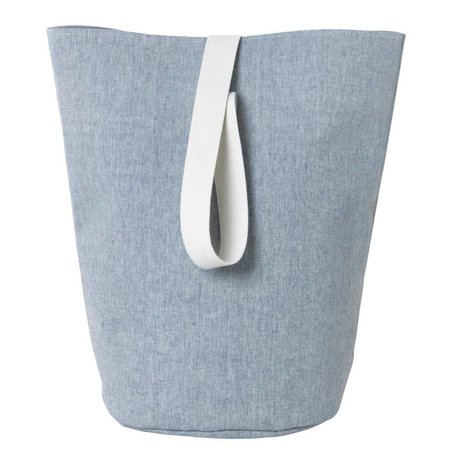 Ferm Living Laundry basket Chambray large blue cotton Ø40x62cm