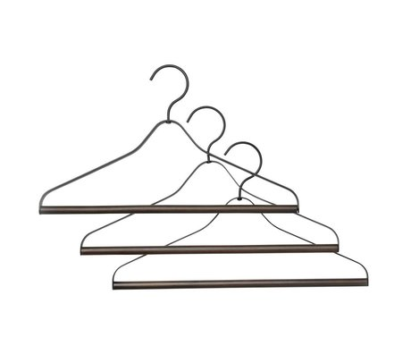 Ferm Living Cintre ensemble de trois bois métal noir 41x1,4x24cm