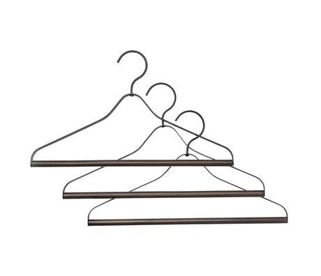 Ferm Living Clothing hanger set of three black metal wood 41x1,4x24cm