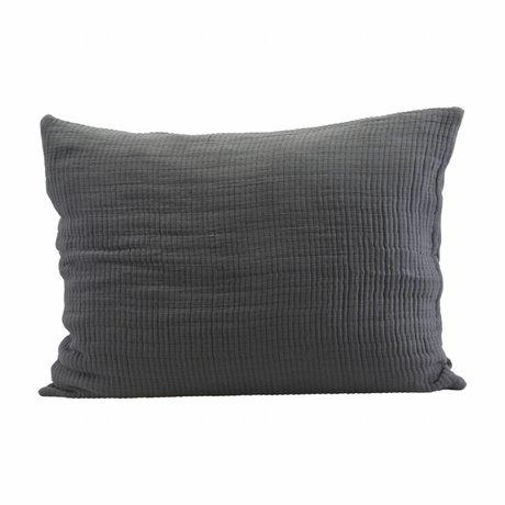 Housedoctor Housse de coussin Lia gris foncé coton 80x60cm