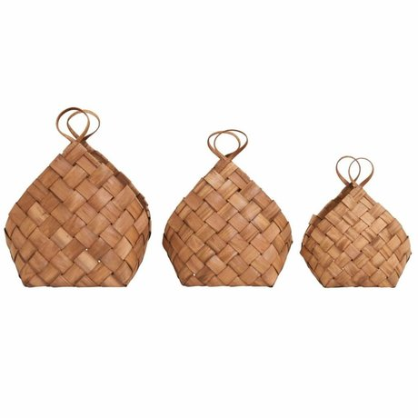 Housedoctor Basket braided brown set of 3