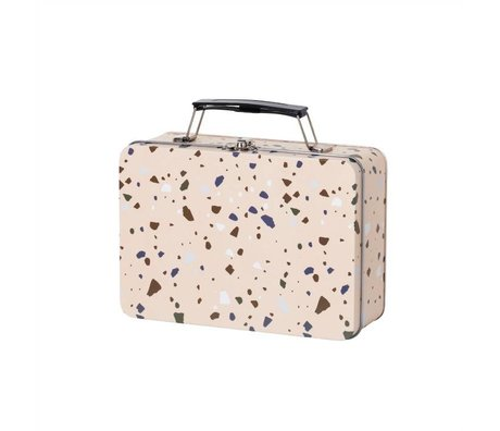 Ferm Living Lunchbox Terrazzo roze metaal 18,5x13x6,5cm