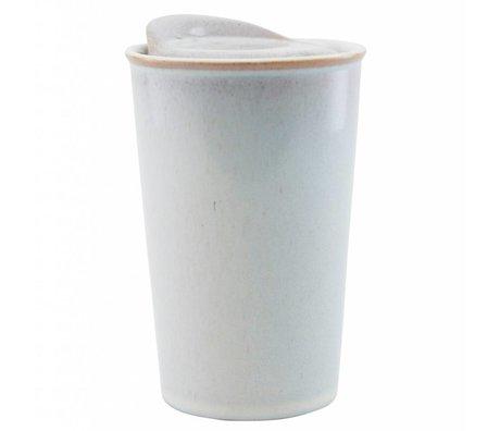 Housedoctor Becher Togo gebrochen weiße Keramik ¯9x13,5 cm