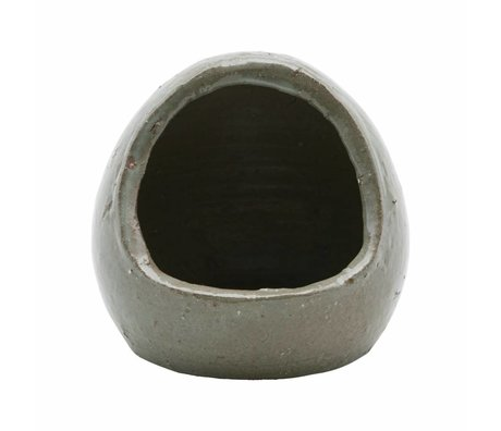 Housedoctor Salztopf grau / grünen Ton ¯12x14cm