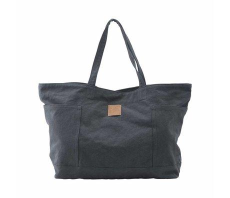 Housedoctor Weekender Tasche grau blau Baumwolle / Leinwand 62,37x18cm