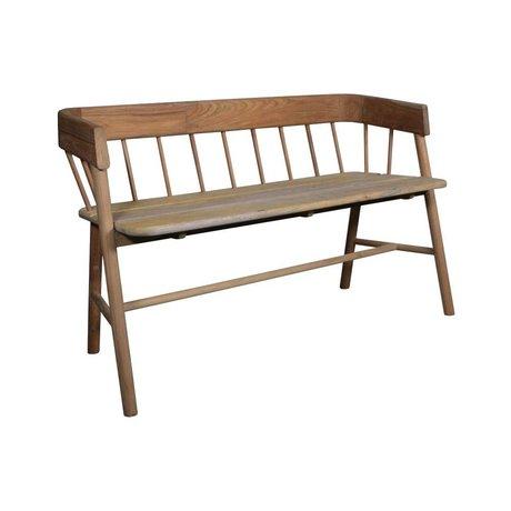 HK-living Brown sofa teak wood 45x123x72cm - Copy