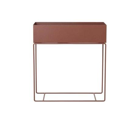 Ferm Living plante boîte en métal rouge brun 60x25x65cm