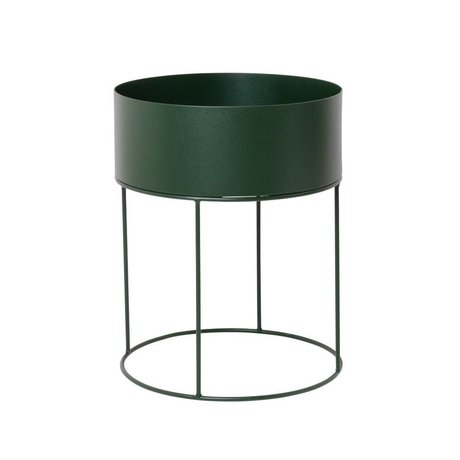 Ferm Living Plant box rond donkergroen metaal ∅40x50cm