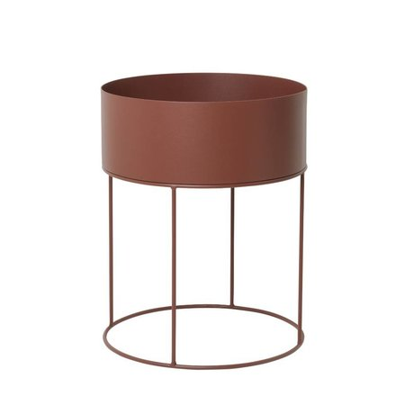 Ferm Living Plant box rond rood bruin metaal ∅40x50cm