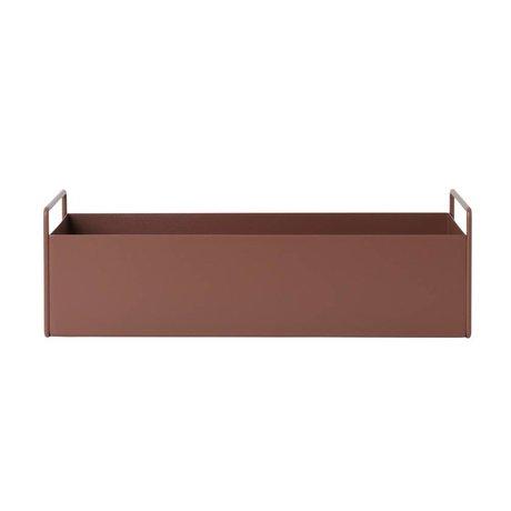 Ferm Living plante boîte en métal rouge brun S 45x17x14,5cm