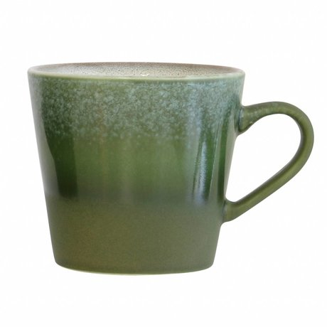 HK-living Cappuccino mok Forest '70's style groen keramiek 12x9,5x8,5cm