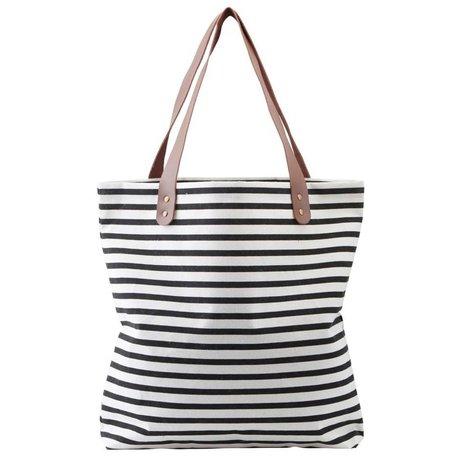 Housedoctor Shopper Stripes schwarz / weiß Baumwolle 45x10x40cm