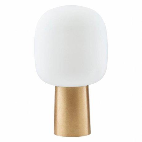 Housedoctor Remarque Lampe de table en verre blanc / laiton ¯28x52cm