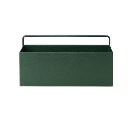 Ferm Living Plant box Wall Rectangle donkergroen metaal 30,6x14,6x15,6cm