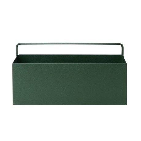 Ferm Living Plantenbox Wand Rechteck dunkelgrünes Metall 30,6x14,6x15,6cm