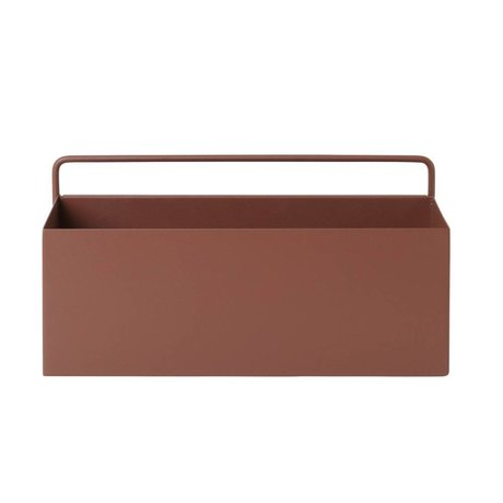 Ferm Living Plant box Wall Rectangle rood bruin metaal 30,6x14,6x15,6cm