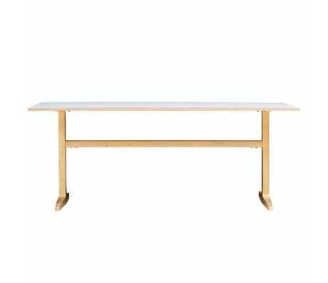 Housedoctor Dining table gray brass 200x80x74cm