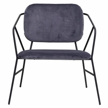 Housedoctor chaise longue Klever gris velours 70x70x75cm