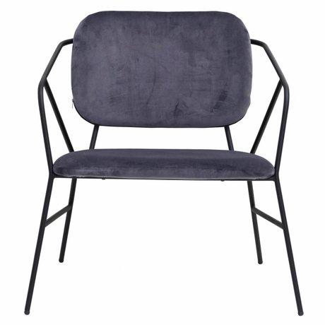 Housedoctor lounge stoel Klever grijs velvet 70x70x75cm